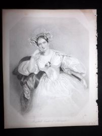 Aft Chalon 1846 Pretty Lady Print. Marguerite Gardiner, Countess of Blessington
